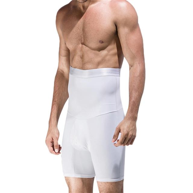 Men High Waist Abdomen Control Panties Elastic Slimming Big Belly Open Crotch Body Shaper Tummy Trimmer Male Stomach Boyshort 1