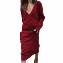 Autumn Ladies Elegant Loose Casual Knitted Long Dress Women Spring V-Neck Long Sleeve Solid Jumper Shirt Maxi Party Dresses цены