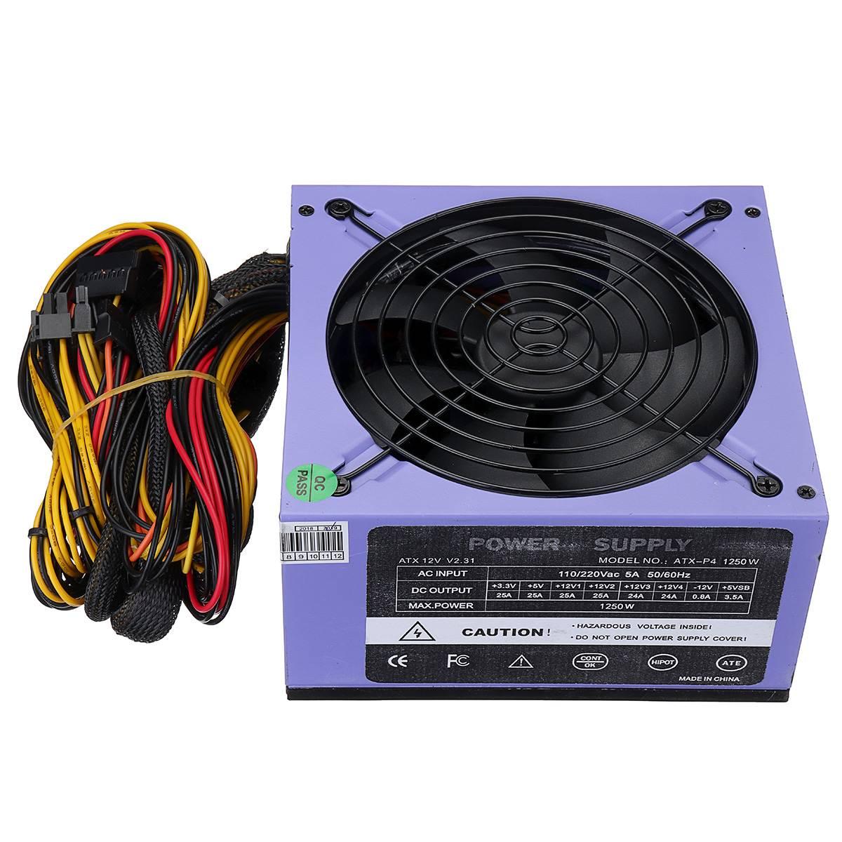 1250 W alimentation 120mm ventilateur LED 24 broches PFC PCI SATA ATX AMD PFC 12 V ordinateur alimentation pour PC jeu de bureau