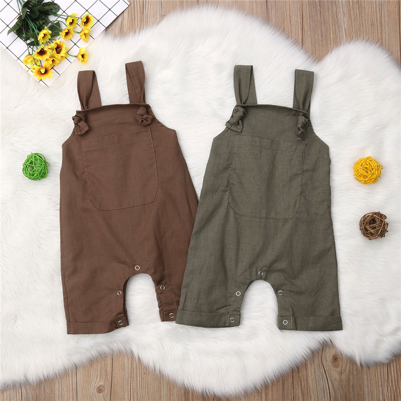 Newborn Baby Boys Girls Solid Dungarees Bib Pants Infant Romper Jumpsuit Overalls Outfits 2019 Toddler New
