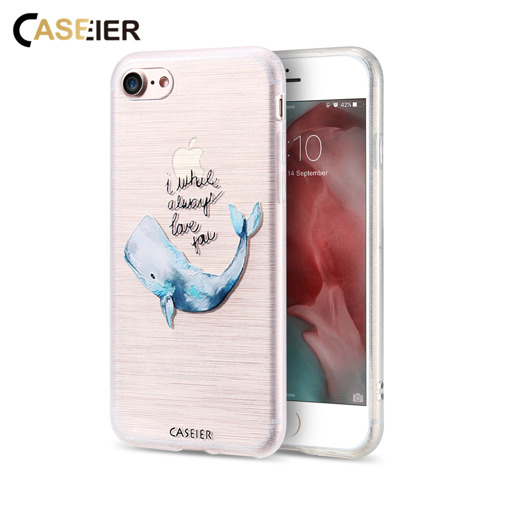 CASEIER Cartoon Alphabet Bule Whale Case For iPhone 7 6 6s Plus 5 5s SE Lovely Silicone Cover Phone Cases