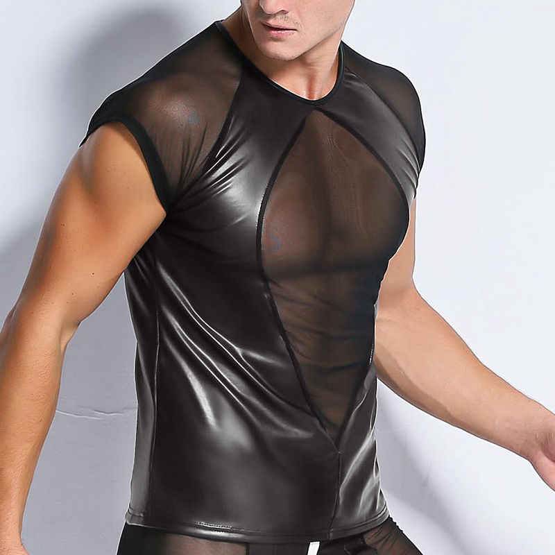 Men Black Undershirt Sexy Sheer Mesh Underwear Man Faux PU Leather Undershirts Gay Wetlook T shirt Club wear Tops Erotic T-shirt
