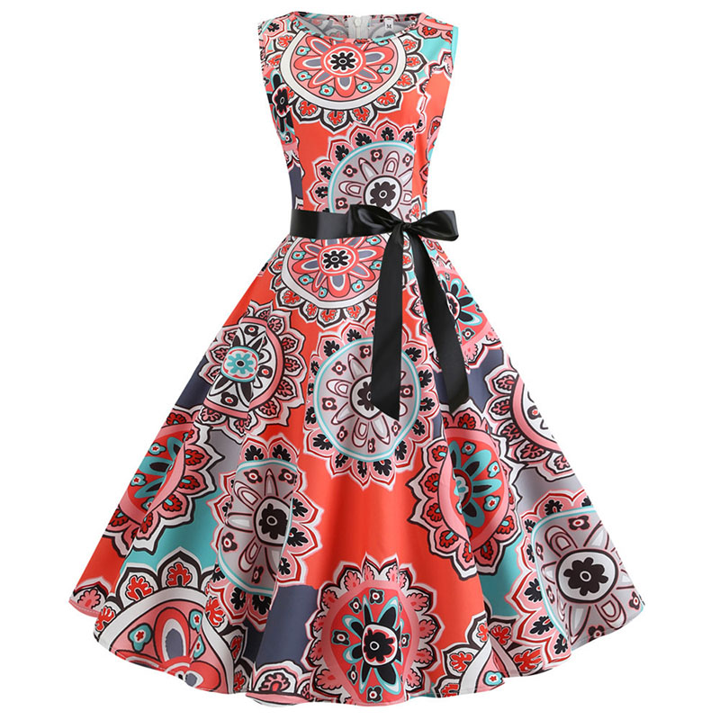 Women Print Halter Neck Vintage 1950s 60s Rockabilly Party Prom Swing Midi Dress