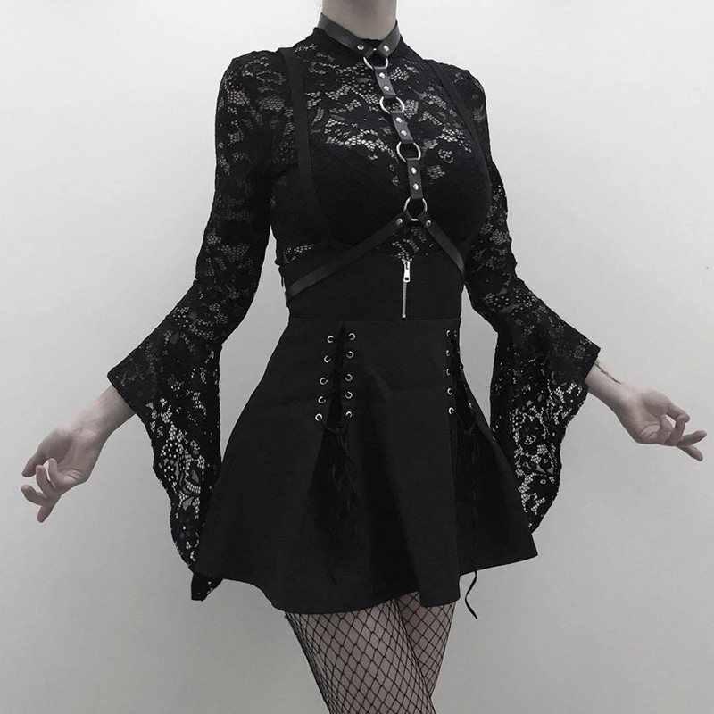 Rosetic Người Phụ Nữ Bộ Đen Hai Mảnh Gót Ren Body Rompers MỘT Dòng Đầm Suspender Phối Ren Xem Qua Câu Lạc Bộ mặc Gái