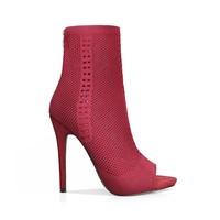 Женские сапоги до середины икры из эластичной ткани с открытым носком и вырезами, женская обувь на очень высоком каблуке 12 см, сапоги в римск