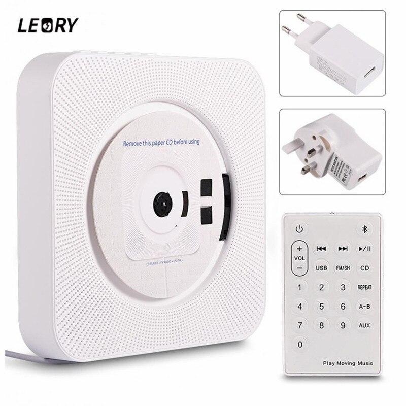 LEORY bluetooth 4.2 lecteur CD Radio FM USB AUX MP3 télécommande LED affichage sommeil minuterie Portable montable au mur