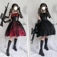 Japanese Gothic Lolita Dress JSK Vest Flounce Lolita Cospaly Strap Sleeveless Dress High Waist Vintage Dress Cosplay Costumes