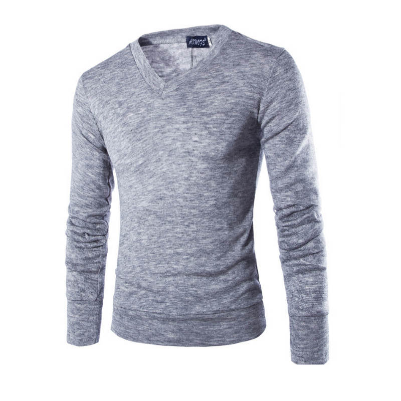Varsanol Cotton Sweater Men Long Sleeve Pullovers Outwear Man V Neck sweaters Tops Loose Solid Fit Knitting Clothing 7Colors New
