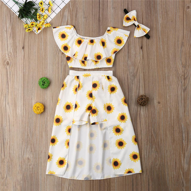 1dc7e24e92756 US $5.51 20% OFF|1 6T 3PCS Kids Baby Girl Sunflower Clothes Set Crop Tops  Shorts Dress Headband Outfits Clothes Summer Party Cute Outfis-in Clothing  ...