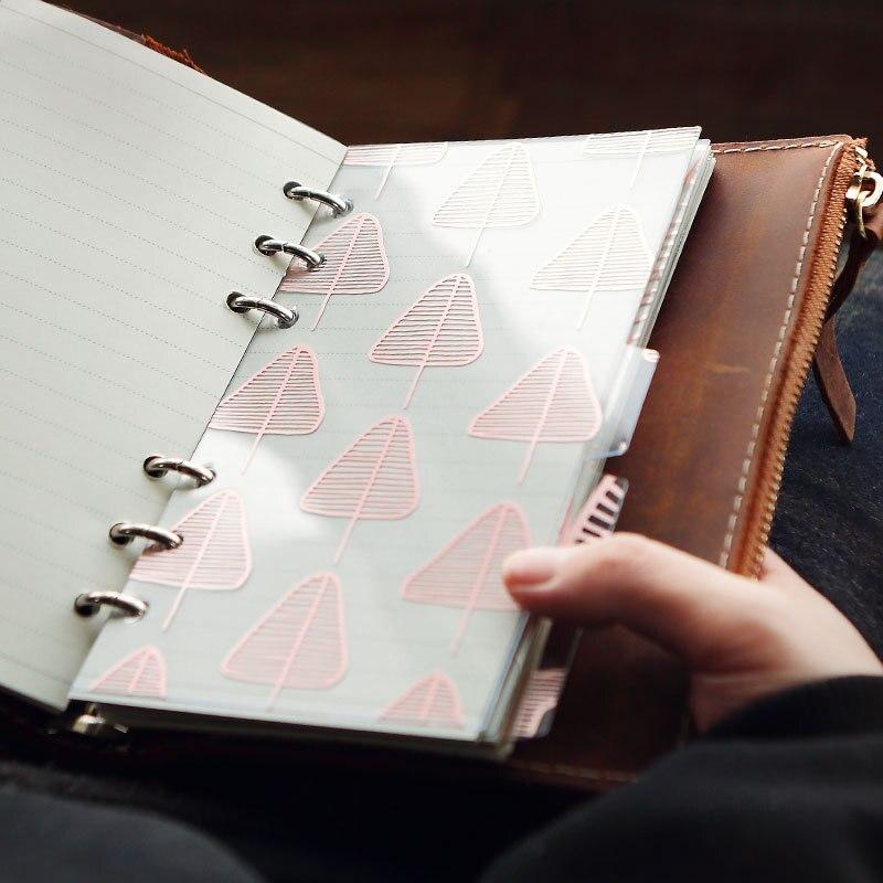 5pcs/set Originality Pvc Gilding Leaf Texture Separate Page Part A Partition Notebook Office School Supplies A5/6