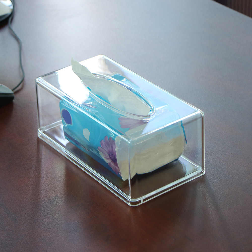 Transparan Persegi Panjang Jaringan Kotak Penyimpanan Transparan Acrylic Baki Plastik Mobil Ktv Hotel Persegi Panjang Jaringan Kotak Penyimpanan