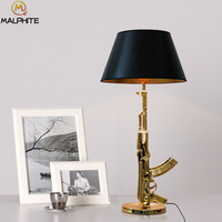 Modern AK47 Golden Musket Table Lamps Nordic Table Bedroom Lamp Living Room Study Luminaire Table Lamps for Desk Deco Lighting