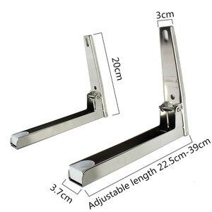 Image 5 - Edelstahl Mikrowelle Faltbare Ofen Regal Rack Unterstützung Rahmen Stretch Einstellbare Wand Halterung Halter Küche Lagerung
