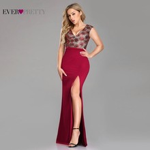 Bodycon Burgundy Evening Dresses Long Ever Pretty Deep V-Neck Lace Formal with sequin EZ07729BD Elegant Party Gowns