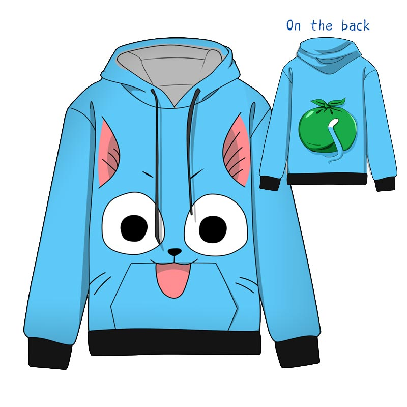 Hot Anime FAIRY TAIL Happy Cosplay Hoodies Standard Hooded Winter Tops Unisex funny Sweatshirts in Hoodies amp Sweatshirts from Men 39 s Clothing