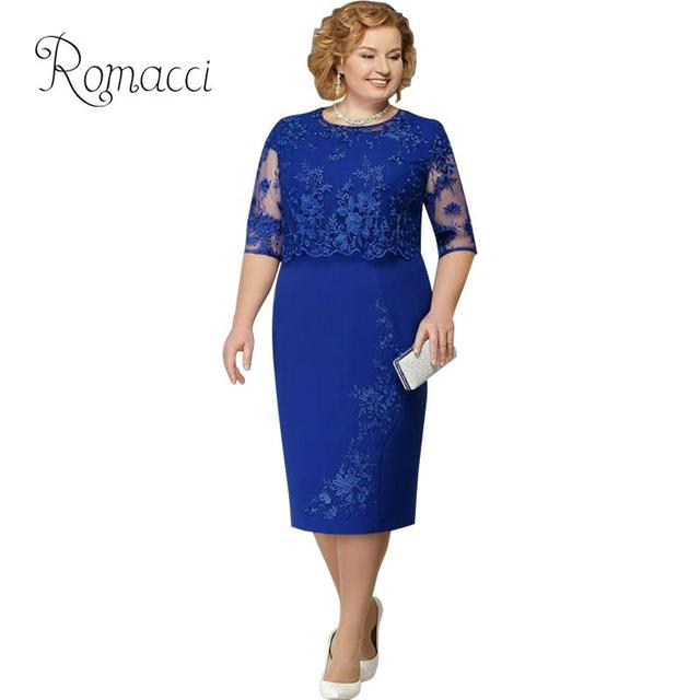 US $14.02 38% OFF|Women Lace Dress Plus Size Half Sleeve Solid Color Knee  Length Elegant Wedding Party Pencil Dress OL Style Bodycon Midi Dress-in ...