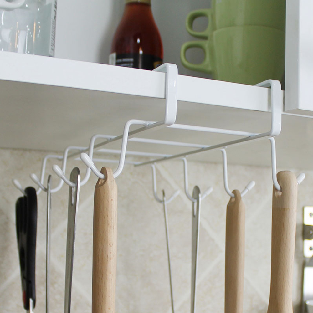 Closet:  Kitchen Storage Rack Cupboard Hanging Coffee Cup Organizer Closet Clothes Shelf Hanger Wardrobe Glass Mug Holder with 8 Hooks - Martin's & Co