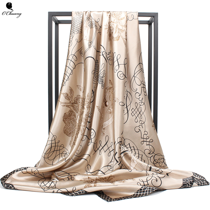 Square Silk Scarf Women Luxury Brand Foulard Cheveux Soie Big Bandana Hijab Head Satin Silk Scarves Shawl 90*90cm