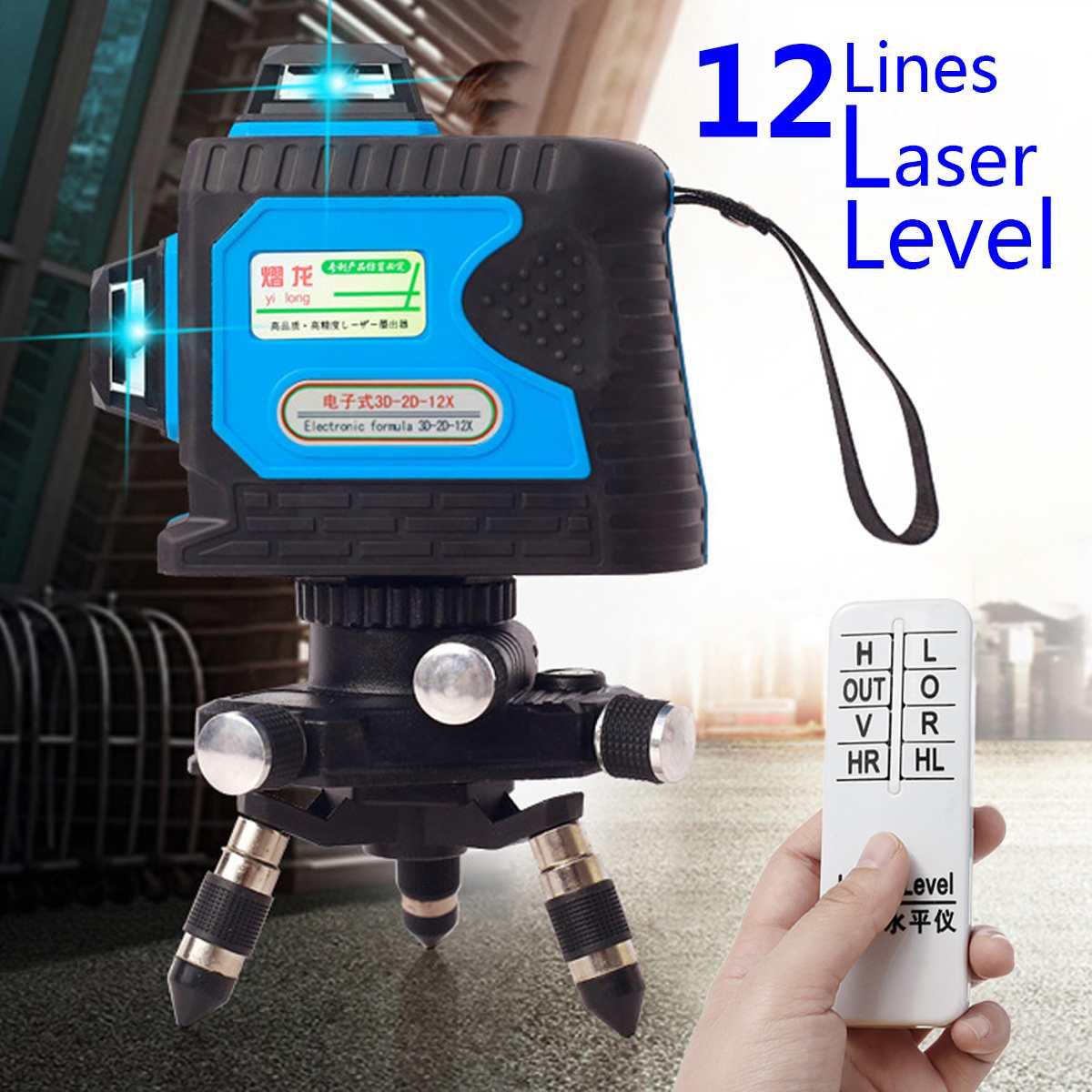 360 Vert Laser Niveau 120X12 Lignes 3D Précision Auto Nivellement télécommande Antichoc 532nm Longueur D'onde Rechargeable Précis
