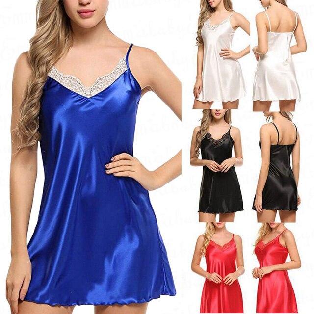 88860c1bbbc Women s Sexy Lace Satin Silk Lingerie Sleepwear Night Gown Babydoll Nightie  Robe Lady Strap Nightgown Short