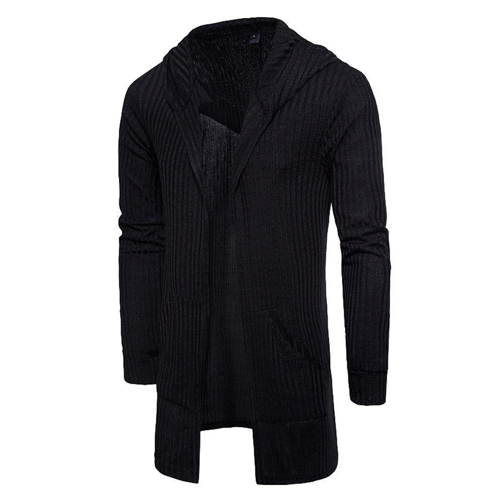 Sweater Cardigan Men 2018 Male Brand Casual Slim Sweaters Men Solid Hooded Pockets Men's Sweater Plus Size XXXL 1
