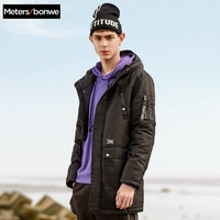 METERSBONWE Hooded Thick Winter Men Parka Medium Long Cotton Jacket Ins Fashion Clothes
