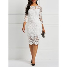 Women Midi Dresses Hot Sale Elegant White Sexy OL Bodycon Floral Hollow Lace Female Fashion Party Chic Club Sheath Ladies Dress
