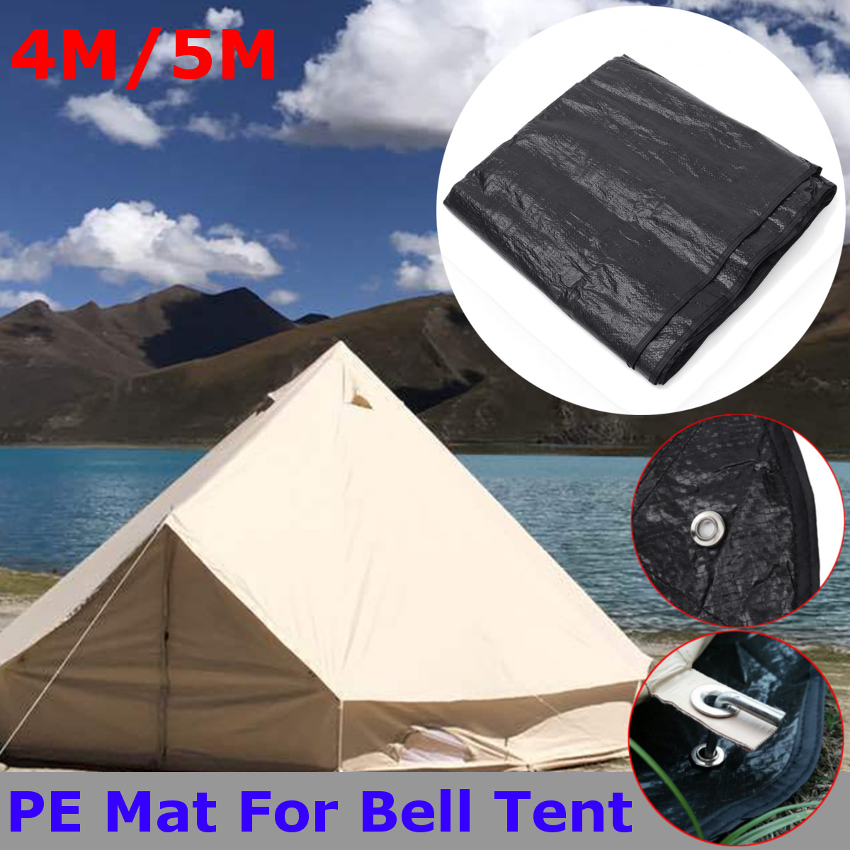 4M/5M Black Waterproof PE Mat Carpet Large Matting Alternative Equipping For Bell Tent Outdoor Camping Hiking  Tent Accessories4M/5M Black Waterproof PE Mat Carpet Large Matting Alternative Equipping For Bell Tent Outdoor Camping Hiking  Tent Accessories