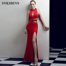SVKSBEVS Luxury Crystal Halter Illusion Hollow Out Mermaid Long Dresses Elegant Party Split Sexy Backless Maxi Dress