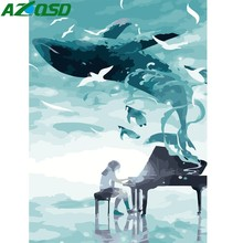 Oil-Painting Numbers Canvas-Picture Play-The-Piano AZQSD Abstract DIY Modern