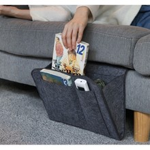 Bedside Caddy Pocket Double-Layer Thick Home Sofa Felt Bedside Pocket Or Organizing Tablet Magazine Phone Small Things Holder