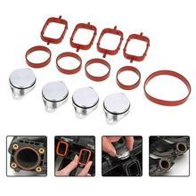 19 шт. 33 мм уплотнительные кольца автомобиля вихревые заслонки+ прокладки коллектора для BMW E39 E46 E53 E60 E90-E93 1999-2010#11617790198(серебро