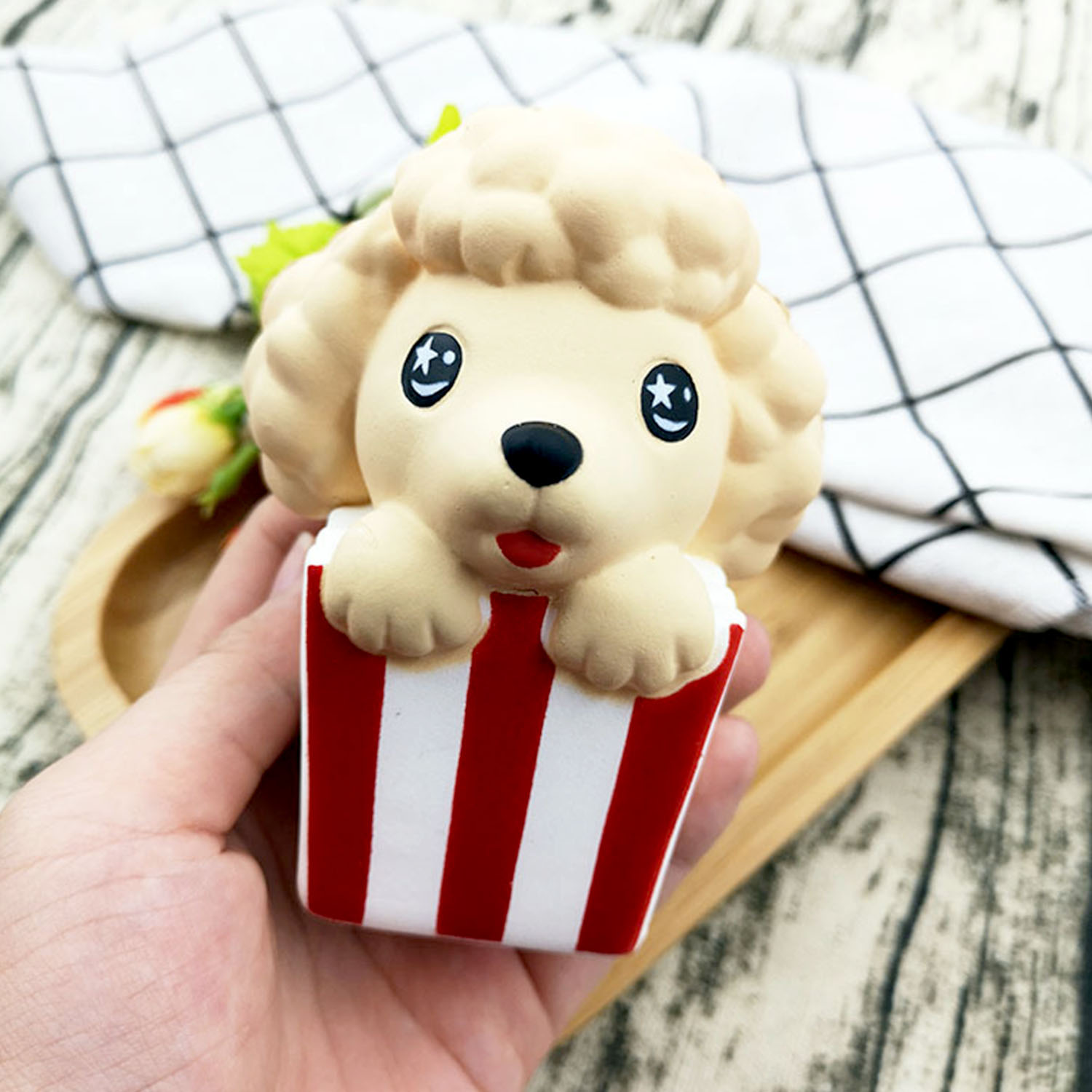 Besegad Slow Rising Squishy Popcorn Dog Squishies Poodle Puppy Stuffed Decompression Cartoon Aniamls Toys For Relieves Stress