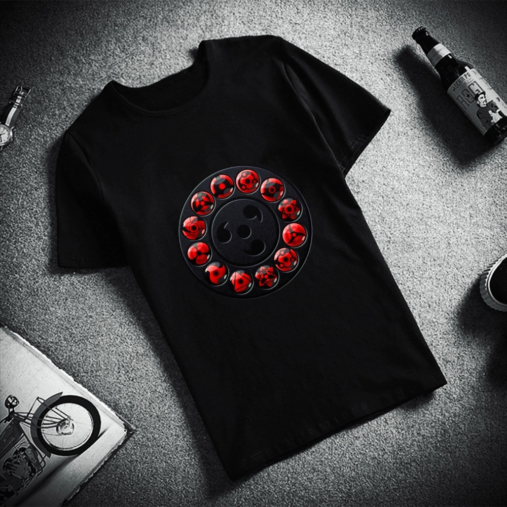 Fashion Short Sleeve TShirt  Uchiha eyes Itachi  Sasuke Hatake Kakashi  Naruto Printed 100% Cotton Top Tees Unisex TShirt