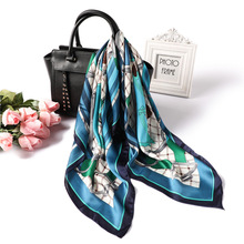 2019 new silk scarves women 70*70cm fashion plaid square scarf animal pattern neckerchief high quality satin hair tie band
