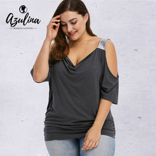 aa333c47373c5 AZULINA Plus Size Cold Shoulder Sequined Trim T-Shirt Women T Shirt Casual  Summer Cowl Neck Short Sleeve Tops 2019 New T-Shirts
