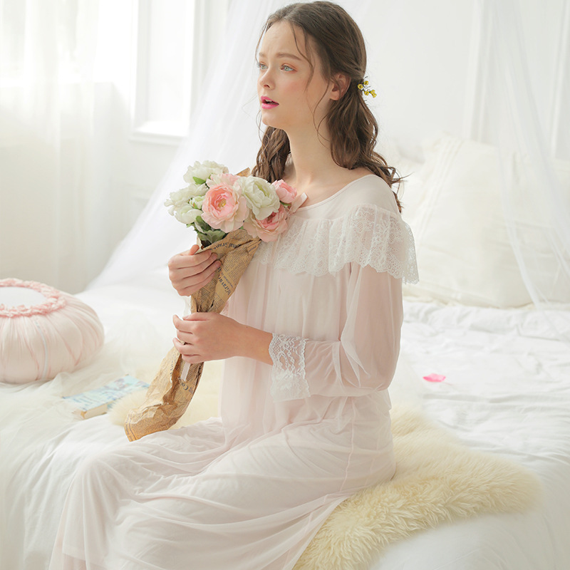 Spring and Summer Princess Lace Netting Nightdress Fashionable Nightgowns Sexy Sleepshirts Simple Sleepwear Girl's Home Clothes