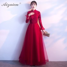 Chinese Traditional Dress Orientale Style Evening Dresses Oriental Clothing 2019 New Cheongsam Red Lace Wedding Qipao Long Gown new cheongsam dress long red lace evening dresses vintage elegant lace lady chinese traditional cheongsam china style wedding