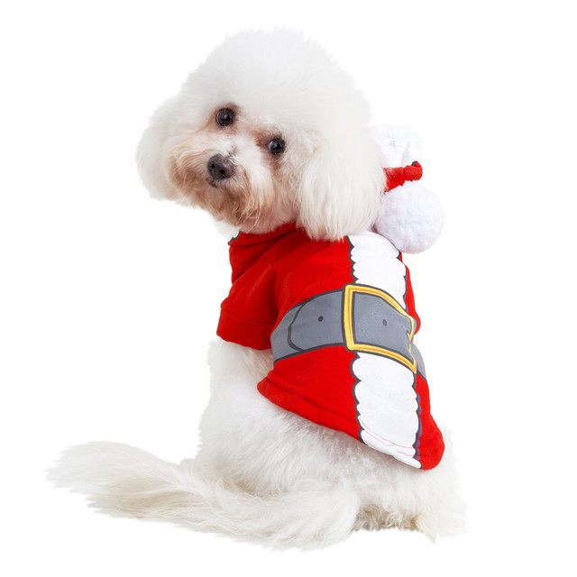 XS/S/M/L New Polyester Christmas Pullover Hoodies Dog Clothes Cat Santa Pet Dog Shirt Puppy Sweater Clothes Casual