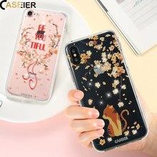 CASEIER Cat Phone Case For iPhone X 5 5s SESoft Silicone Bling Diamonds Quicksand Bag Cover 6 6s 7 8 Plus Cases Capa