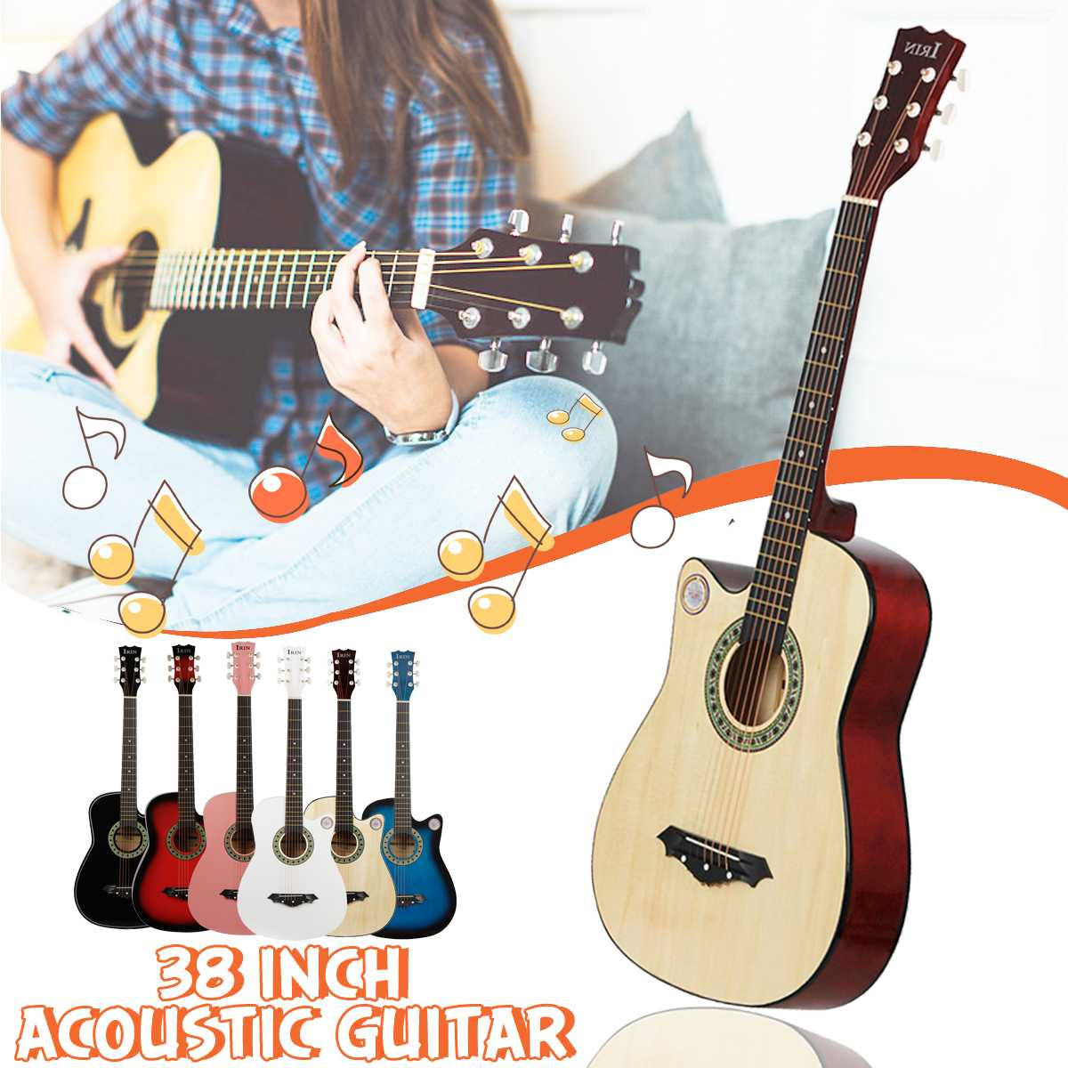 IRIN 38 Inch Guitar Acoustic Guitar Beginners Getting Started Practicing Guitar Stringed Instruments Guitar  6 ColorIRIN 38 Inch Guitar Acoustic Guitar Beginners Getting Started Practicing Guitar Stringed Instruments Guitar  6 Color