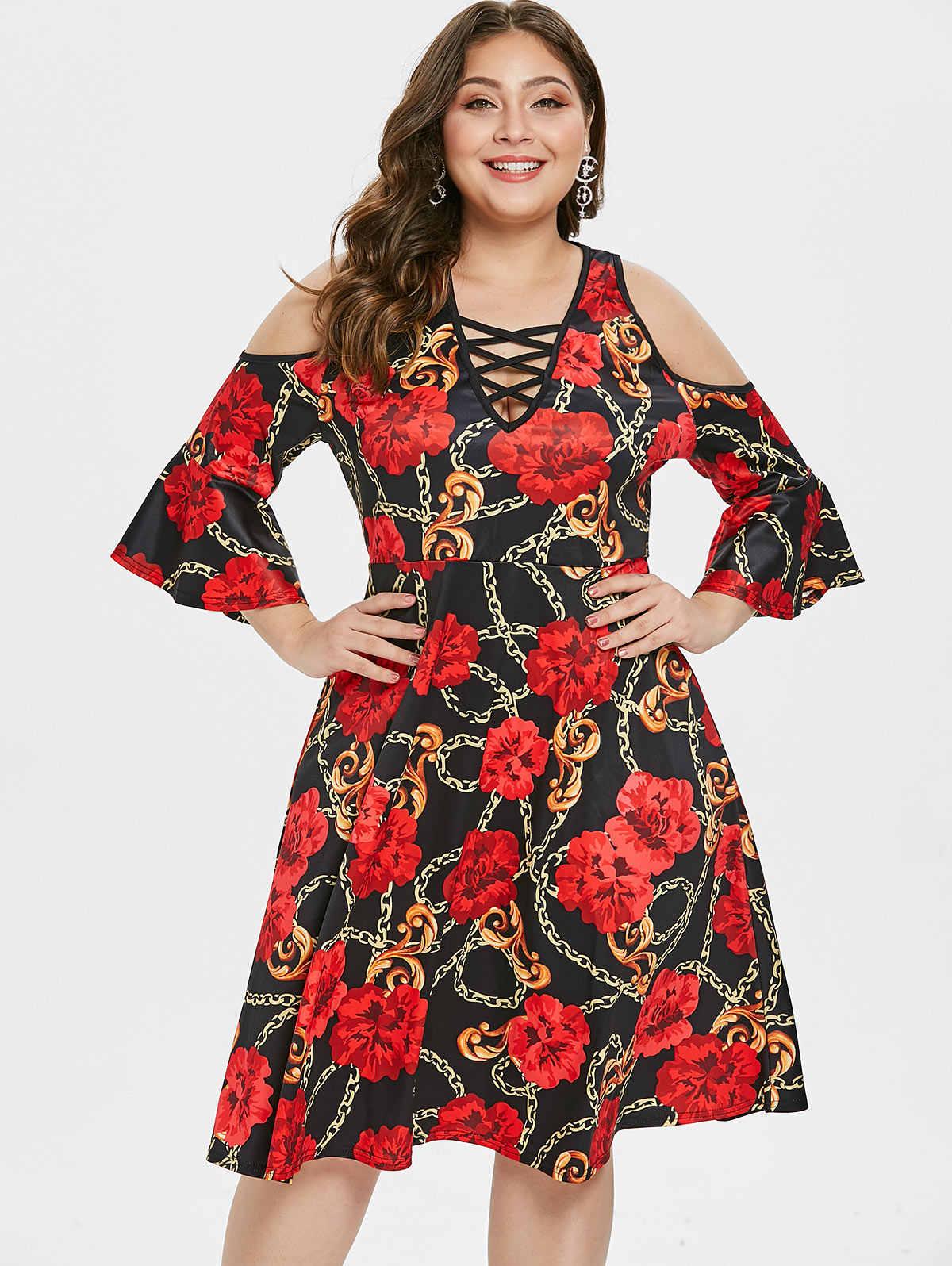 96a1421076a Wipalo Women Plus Size Floral Printed Retro Dress Flare Sleeve Cold Shoulder  Lace Up Deep V