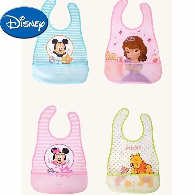 Baberos de bebé de Disney a prueba de agua Burp ropa Mickey Minnie Pooh Sofia dibujos animados niños ropa algodón niños babero Accesorios