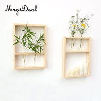 MagiDeal Hanging Decor Transparent Glass Test Tube Flower Vase Air Plant Hydroponic Container Plant Pot with Wooden Frame