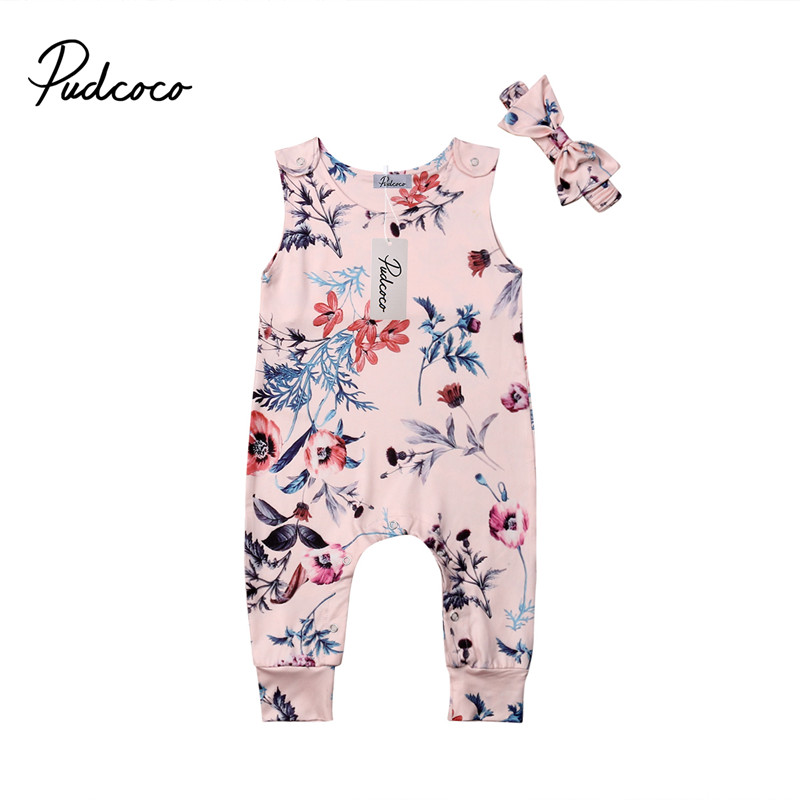 7591d5686196 2019 Newest Promotion Newborn Infant Baby Girl Jumpsuit Sleeveless Pink  Floral Rompers Outfit Summer Casual Sunsuit
