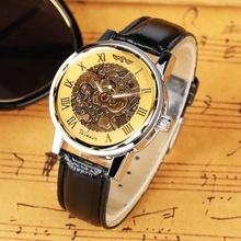 лучшая цена WINNER Top Brand Mechanical Watch Men's Luxury Skeleton Hand-Winding Men Watches Clock Male Analog Leather Hour Top Gift for Men