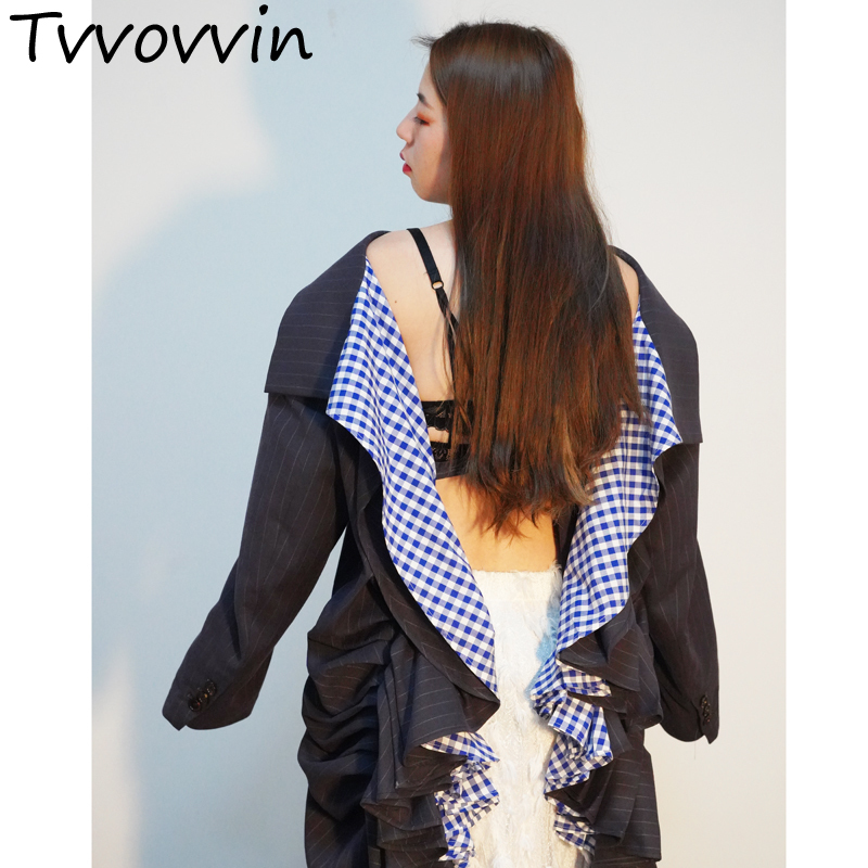 2019 nouveau printemps mode femmes vêtements col rabattu manches complètes rayé dos nu volants veste costume unique mode E202