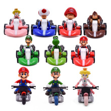 10 Styles/set Anime Figura Super Mario Bros Kart Pull Back Car Cute PVC Action Figure Doll Collectible Model Baby Toy For Kids
