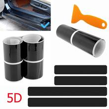4pcs Set Stickers Car Door Sill Guard Door Threshold Scuff Plate Car DIY Sticker Accessories 5D Carbon Fiber Vinyl Decoration(China)