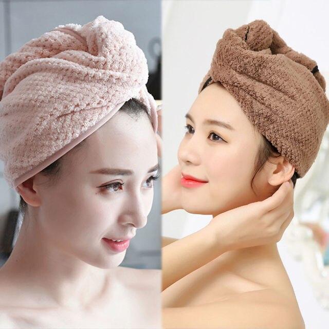 Siêu Thấm Tóc Khô Khăn Turban Mũ Tắm Áo Choàng Tắm Hat Head Bọc QUÀ TẶNG